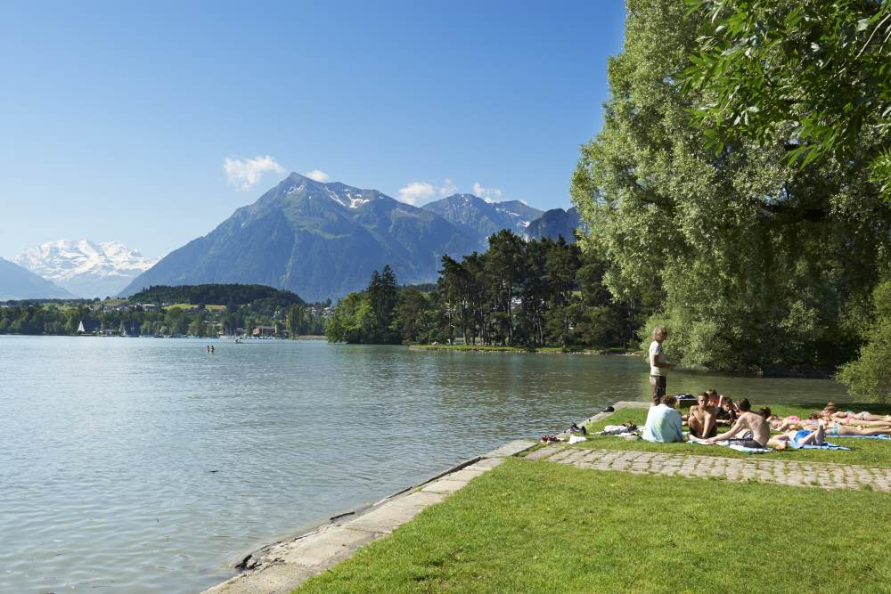 TCS Camping Gwatt, Switzerland: campsite situated right at Lake Thun, offering stunning views of the Bernese Alps.